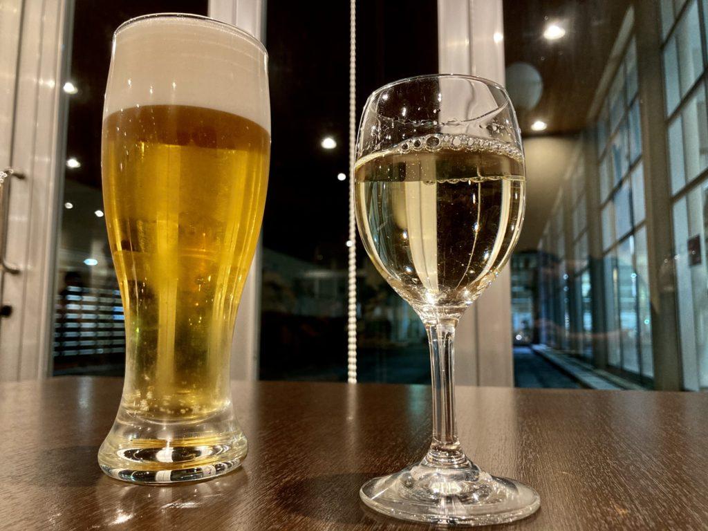 道の駅「宇都宮ろまんちっく村」のレストランの「ゆず庵」のビールとワイン