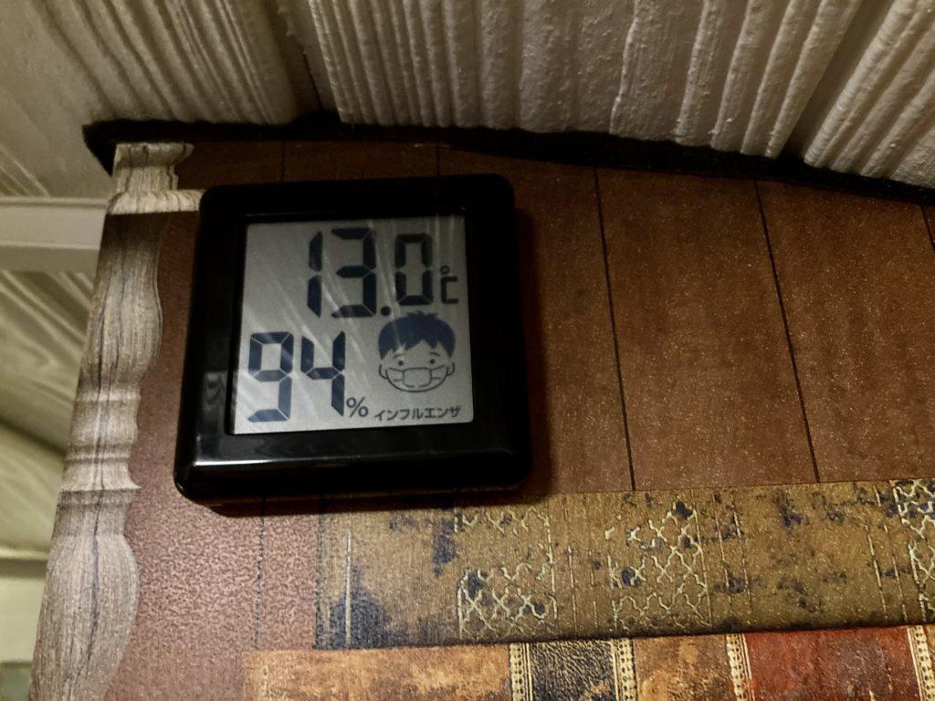 幌馬車くんと行く軽キャンピングトレーラー車中泊で道の駅「宇都宮ろまんちっく村」での11月の温度