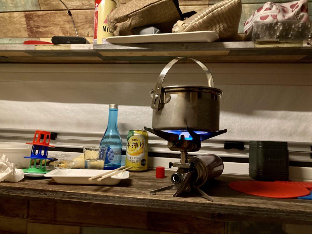 幌馬車くんと行く軽キャンピングトレーラー車中泊で道の駅「宇都宮ろまんちっく村」で湯たんぽのお湯を沸かす