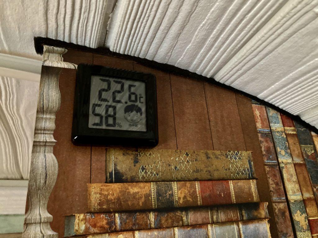 幌馬車くんと行く軽キャンピングトレーラー車中泊で矢板城の湯RVパークで暖房後のトレーラー室内温度