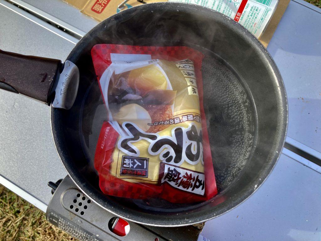 幌馬車くんと行く軽キャンピングトレーラー車中泊で矢板 城の湯キャンプ場で朝食におでんを食べる