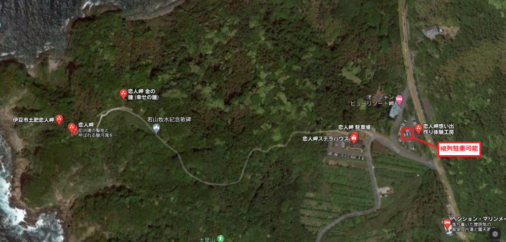 軽キャンピングトレーラーの幌馬車くんで行く伊豆の恋人岬のマップ