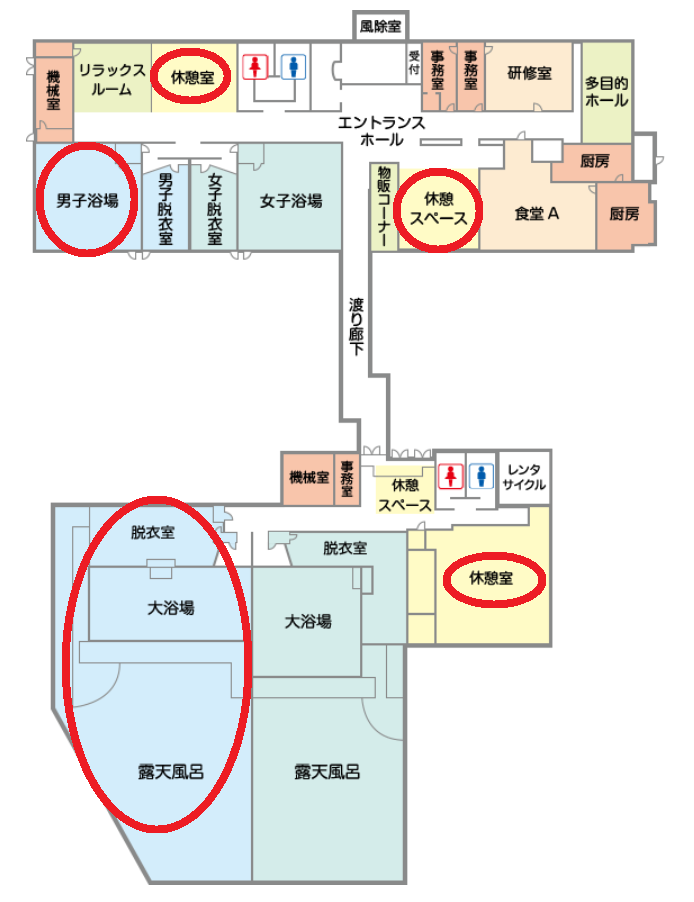 矢板城の湯やすらぎの里の日帰り温泉施設「城の湯温泉」の館内図