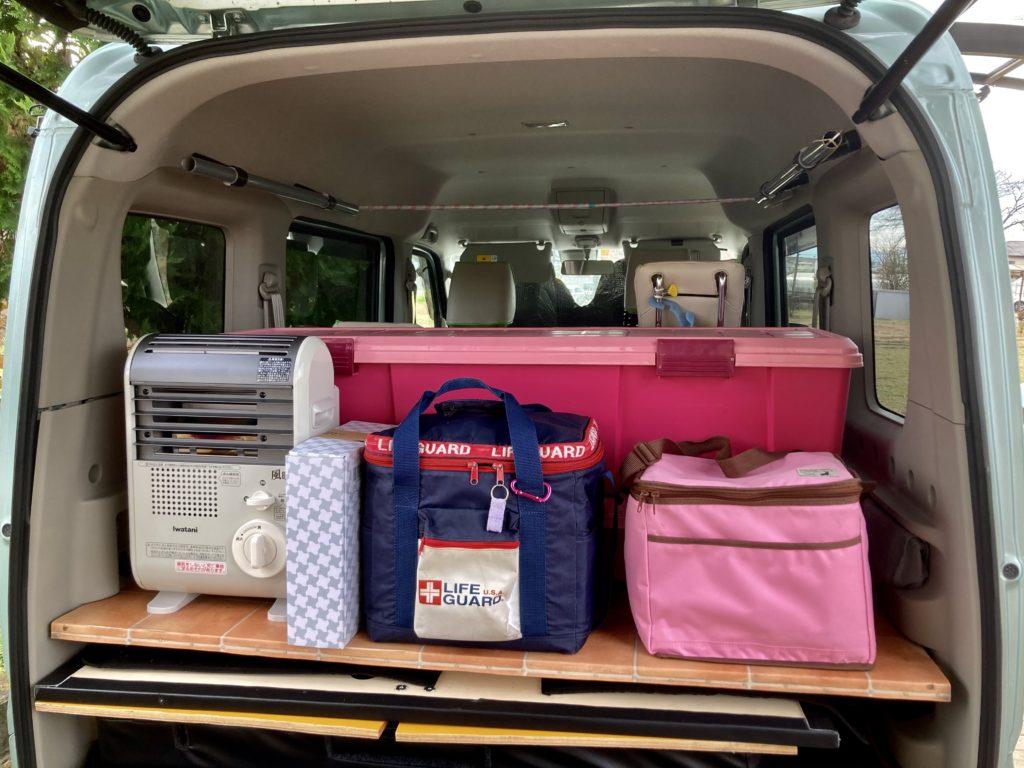 幌馬車くんと行く軽キャンピングトレーラー車中泊でかんなの湯バーベキュー施設&電源付き駐車場車中泊の荷物