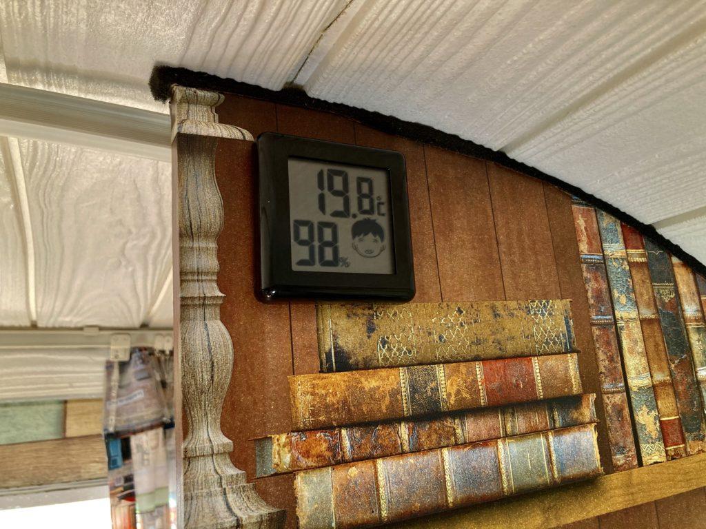 幌馬車くんと行く軽キャンピングトレーラー車中泊でかんなの湯電源付き駐車場車中泊の12月の室内温度
