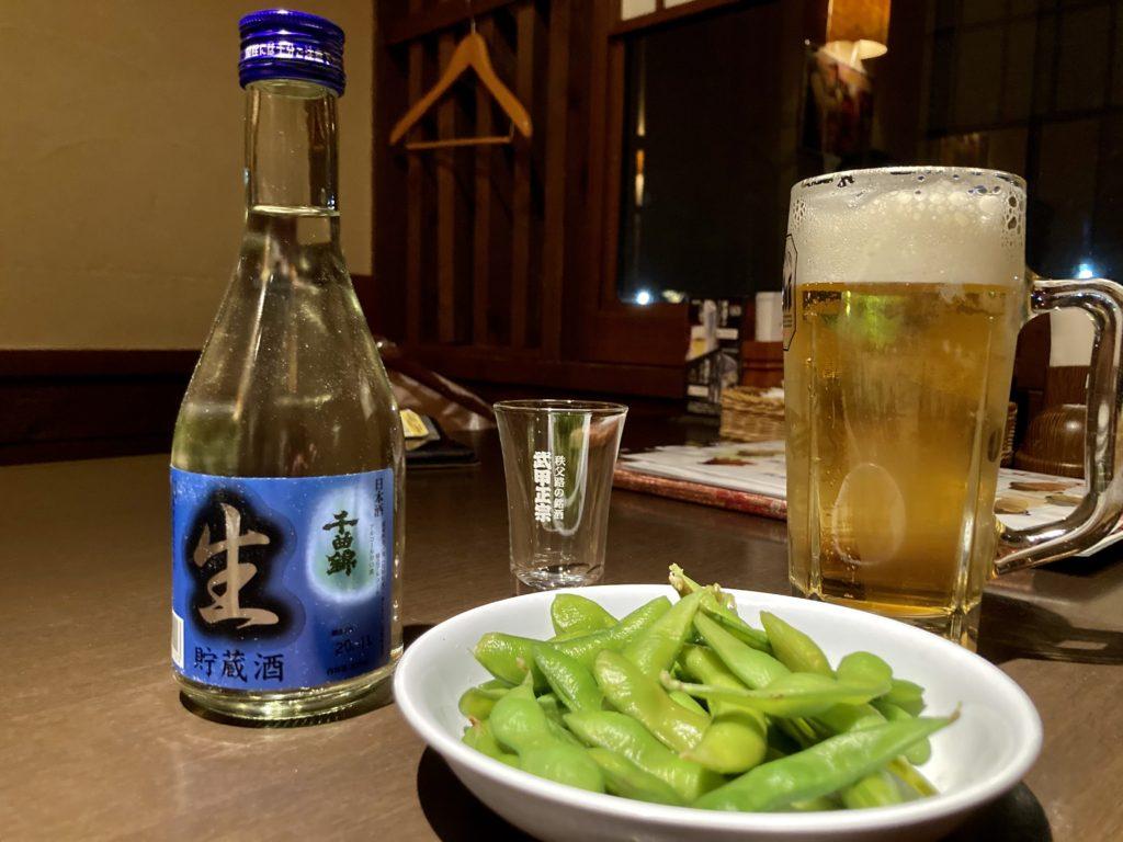日帰り温泉施設「かんなの湯」の居酒屋の神楽の日本酒とビール