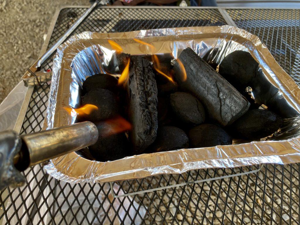 かんなの湯バーベキュー施設で100均のインスタントコンロを使ってみる 中身を解体してバーナーで着火