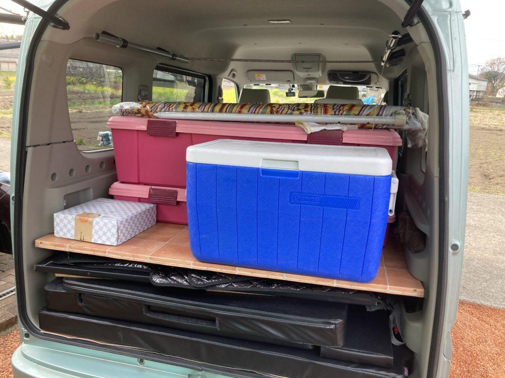幌馬車くんと行く軽キャンピングトレーラー車中泊で矢坂城の湯RVパーク&バーベキューの持ち物
