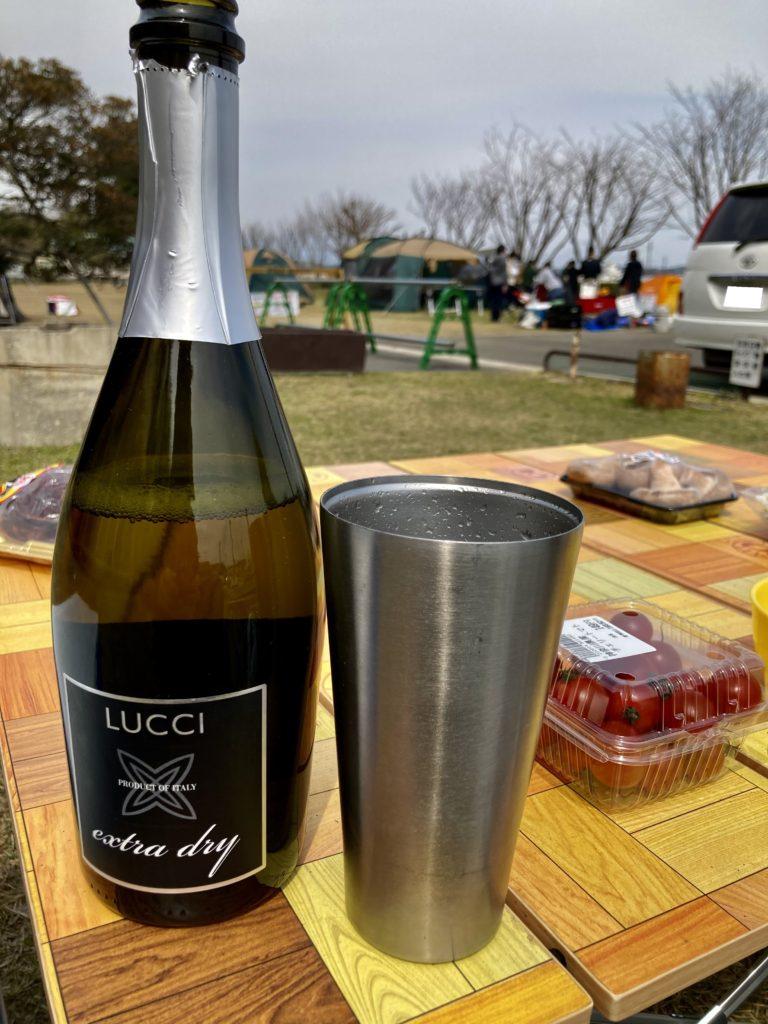 幌馬車くんと行く軽キャンピングトレーラー車中泊で矢坂城の湯RVパーク&バーベキュー場でスパークリングワインで乾杯