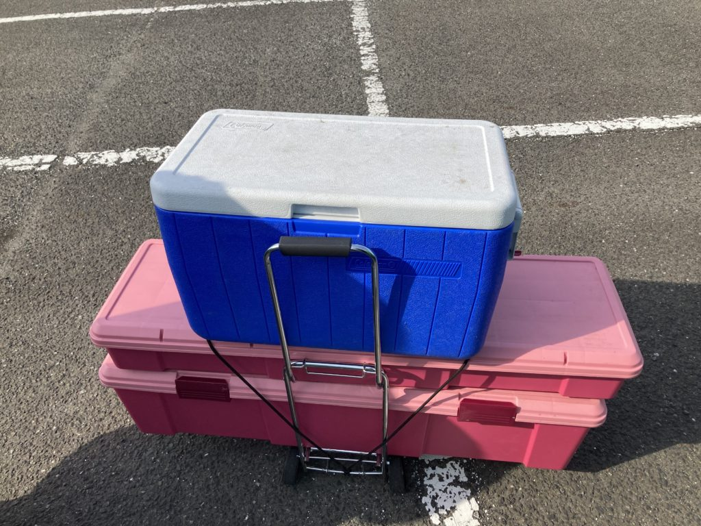 幌馬車くんと行く軽キャンピングトレーラー車中泊で矢坂城の湯RVパーク&バーベキュー場で撤収準備