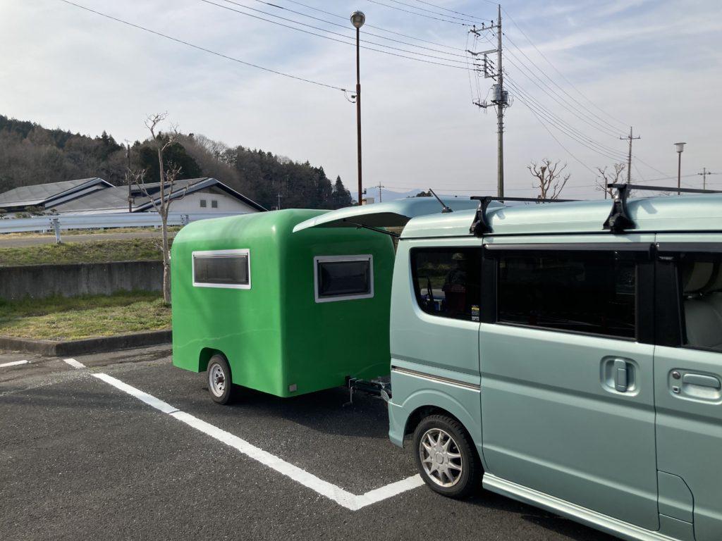幌馬車くんと行く軽キャンピングトレーラー車中泊で矢坂城の湯RVパークチェックイン
