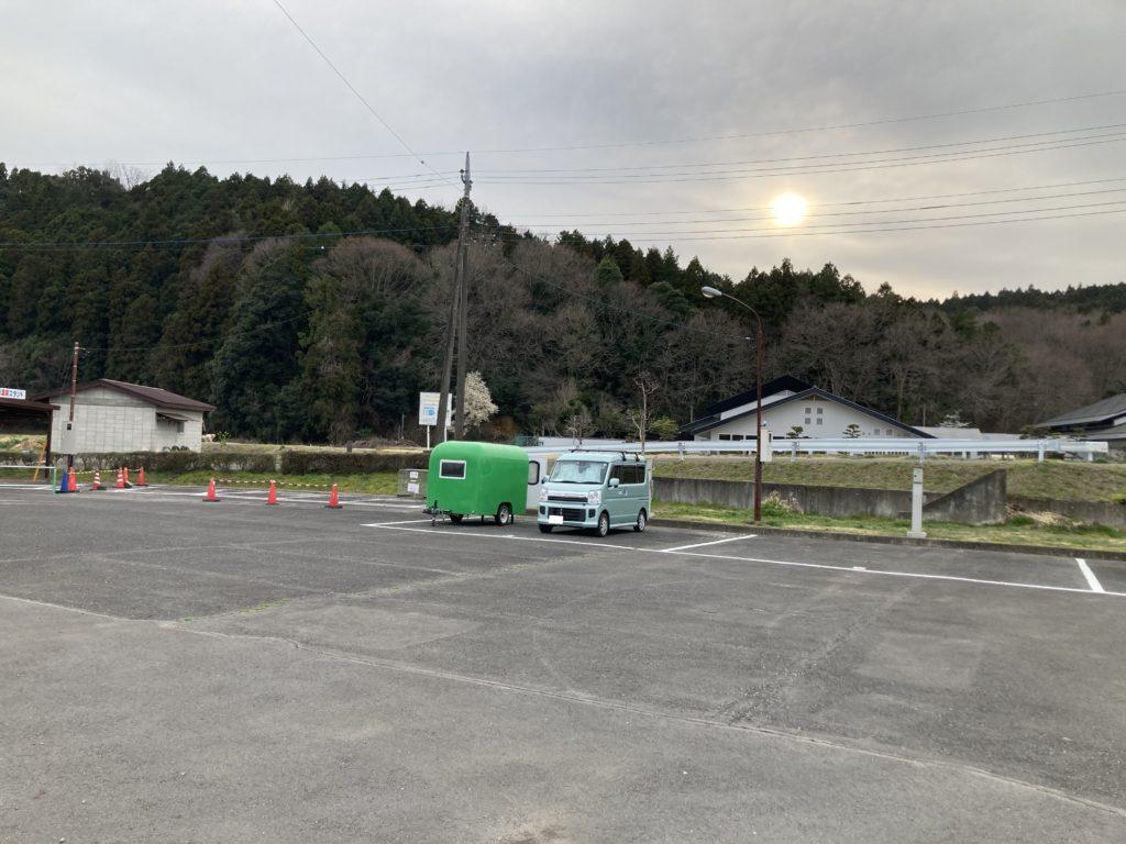 幌馬車くんと行く軽キャンピングトレーラー車中泊で矢坂城の湯RVパーク宿泊