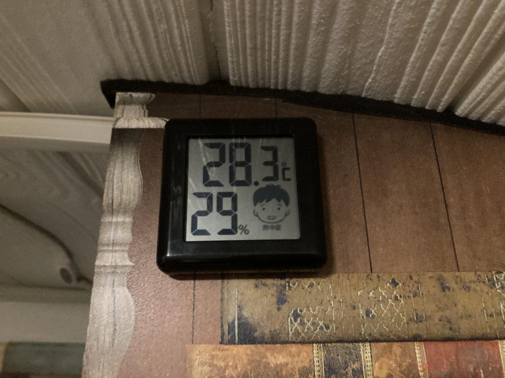 幌馬車くんと行く軽キャンピングトレーラー車中泊で矢坂城の湯RVパーク3月下旬の室内温度
