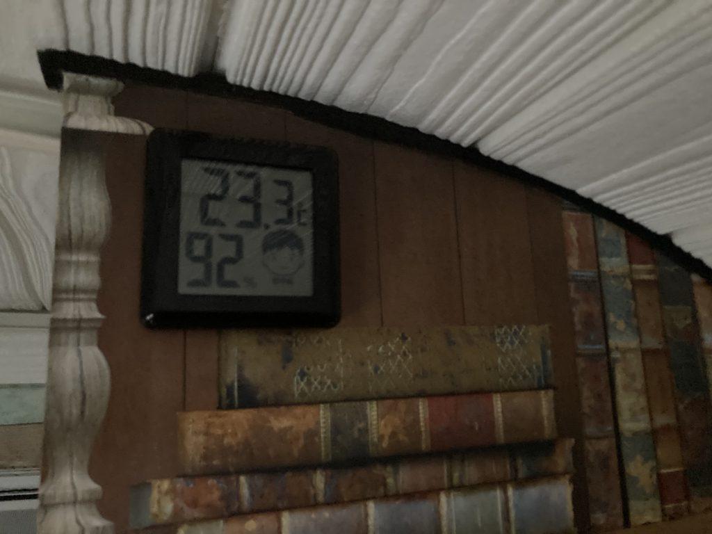 幌馬車くんと行く軽キャンピングトレーラー車中泊で矢坂城の湯RVパークの3月下旬の気温