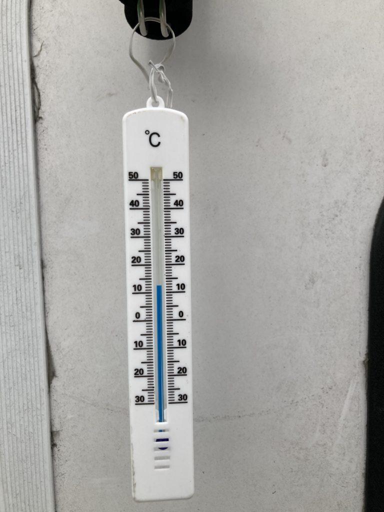 幌馬車くんと行く軽キャンピングトレーラー車中泊で矢坂城の湯RVパークで 3月下旬の気温