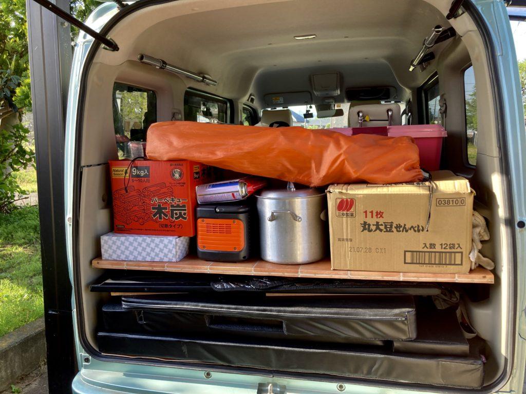 碓氷峠の日帰り温泉施設「峠の湯」「くつろぎの郷」コテージ泊・エブリィワゴンで車中泊 今回の荷物