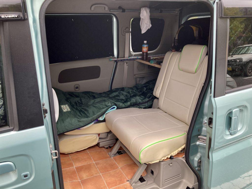 碓氷峠の日帰り温泉施設「峠の湯」エブリィワゴンで車中泊でのシートアレンジ