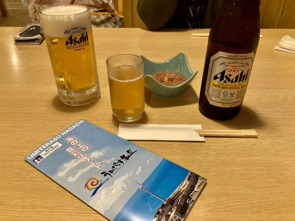道の駅「うみてらす名立」のレストラン「海のだいどころや」でビール