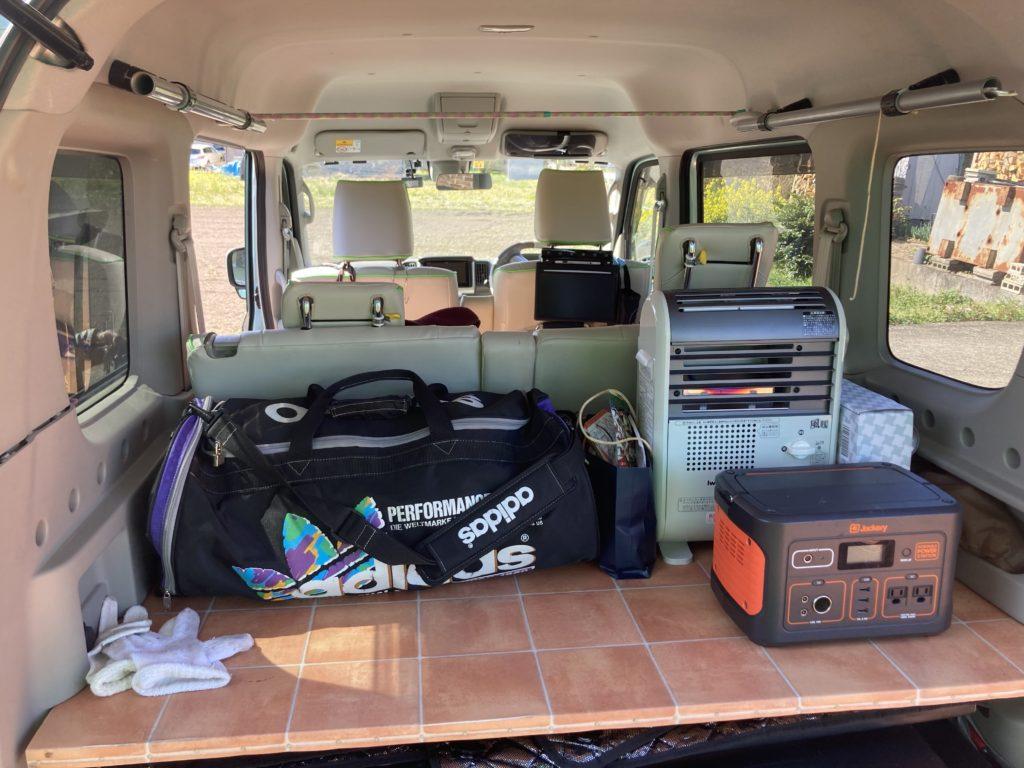 幌馬車くんで行く碓氷峠の森公園交流館「峠の湯」車中泊とアプトの道ハイキングの荷物