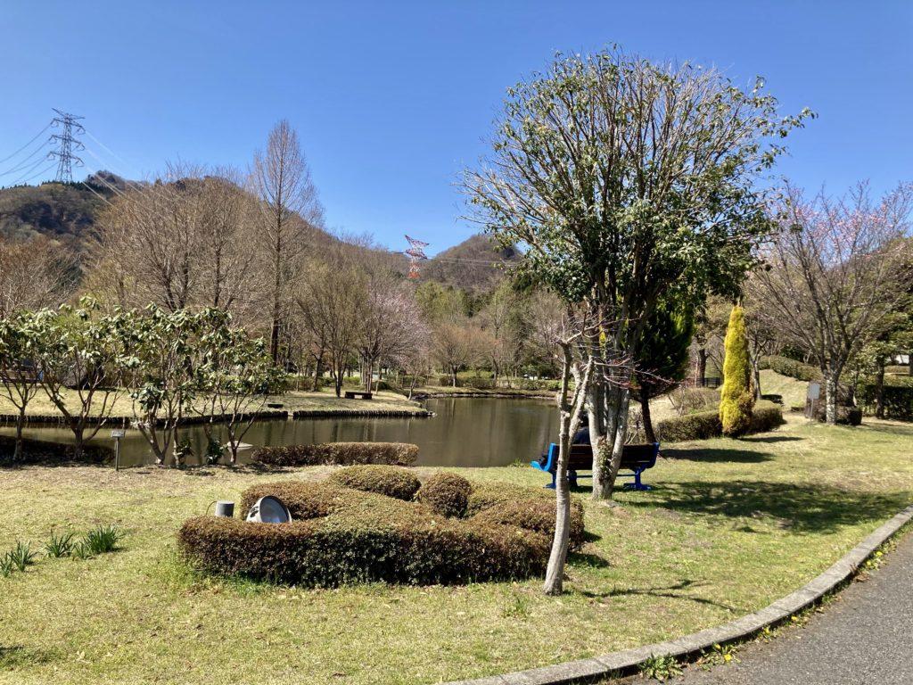 碓氷峠の森公園ゾーンにある池とベンチ