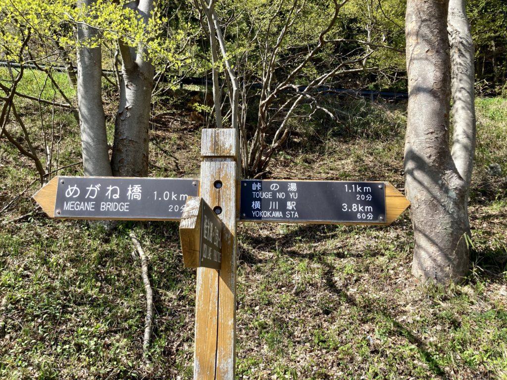碓氷峠の森公園交流館「峠の湯」アプトの道ハイキングで碓井湖、めがね橋を歩くで碓井湖付近の標識