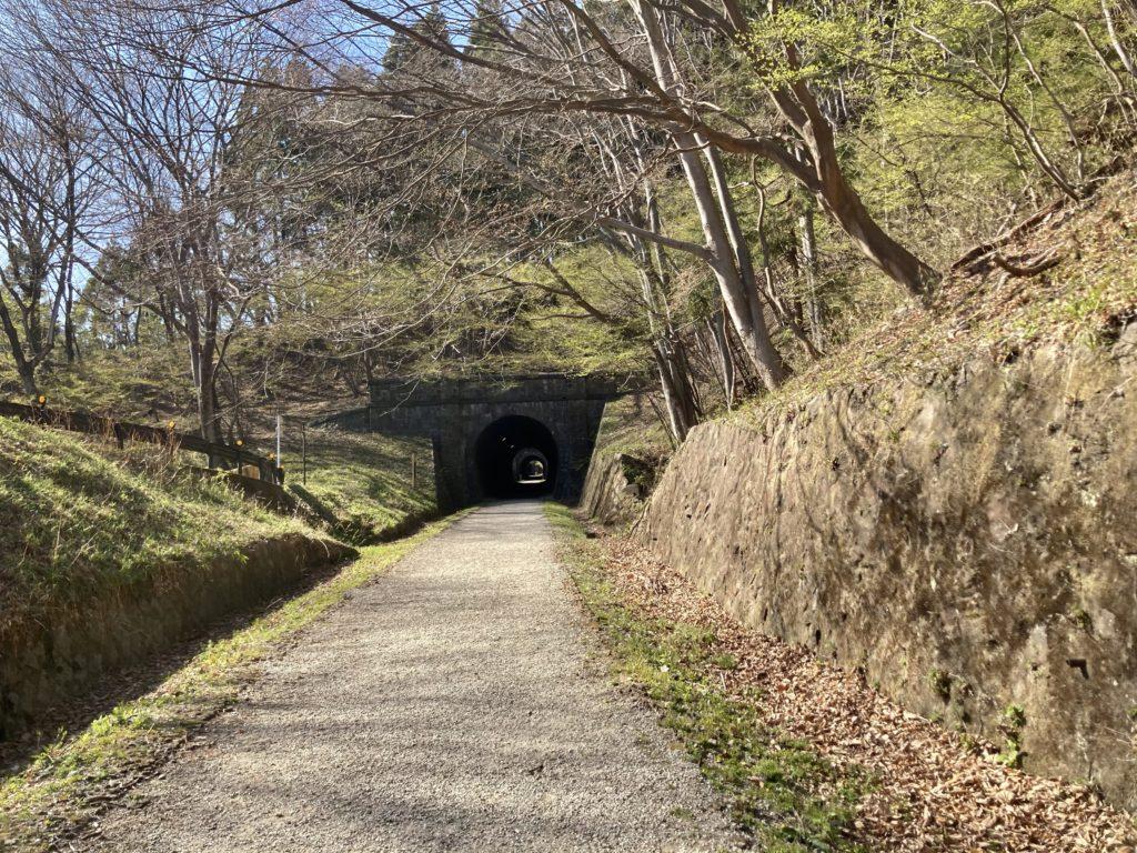 碓氷峠の森公園交流館「峠の湯」アプトの道ハイキングで碓井湖、めがね橋を歩くでトンネル