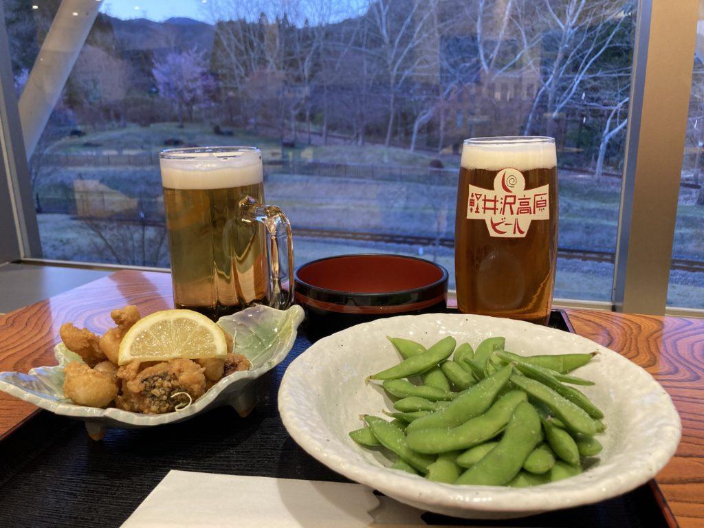 碓氷峠の森公園交流館「峠の湯」で日帰り温泉利用とレストランでビールと日本酒後に車中泊で居酒屋のみ