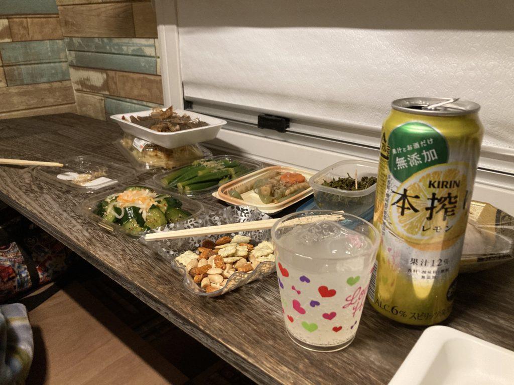 碓氷峠の森公園交流館「峠の湯」で日帰り温泉利用とレストランでビールと日本酒後に車中泊幌馬車くんトレーラー飲み