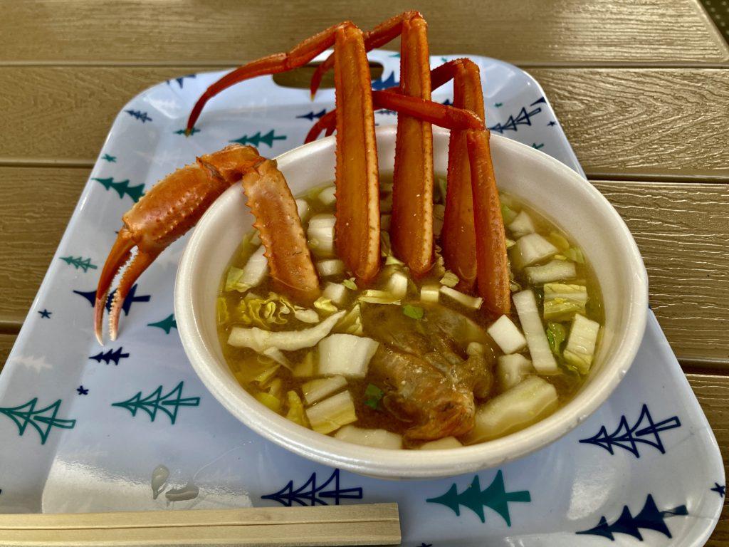 ホタルイカミュージアムの屋台の蟹の味噌汁
