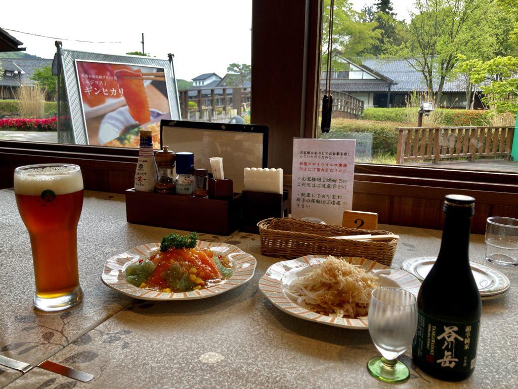 道の駅「川場田園プラザ」の川場ビールレストラン武尊でビールと日本酒で乾杯
