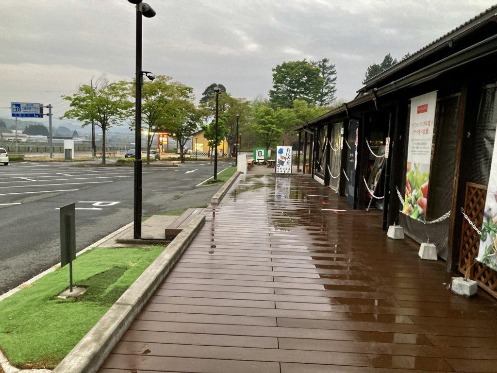 道の駅「川場田園プラザ」の第一駐車場の夕方