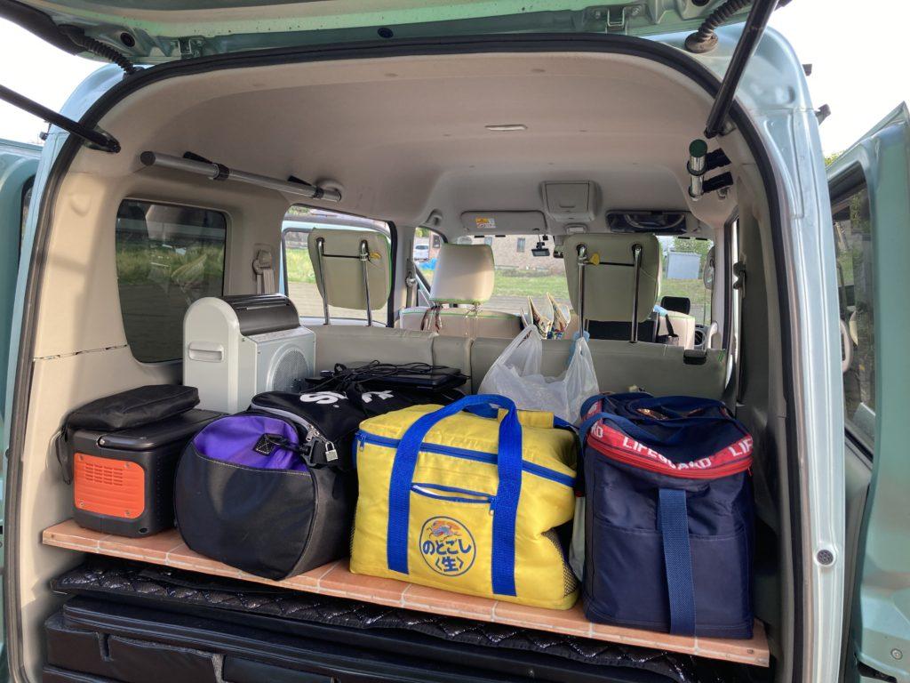 道の駅「あがつま峡」幌馬車くんの軽キャンピングトレーラー車中泊の荷物
