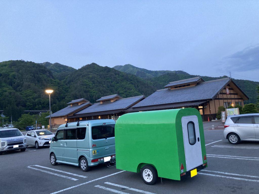道の駅「あがつま峡」幌馬車くんの軽キャンピングトレーラー車中泊