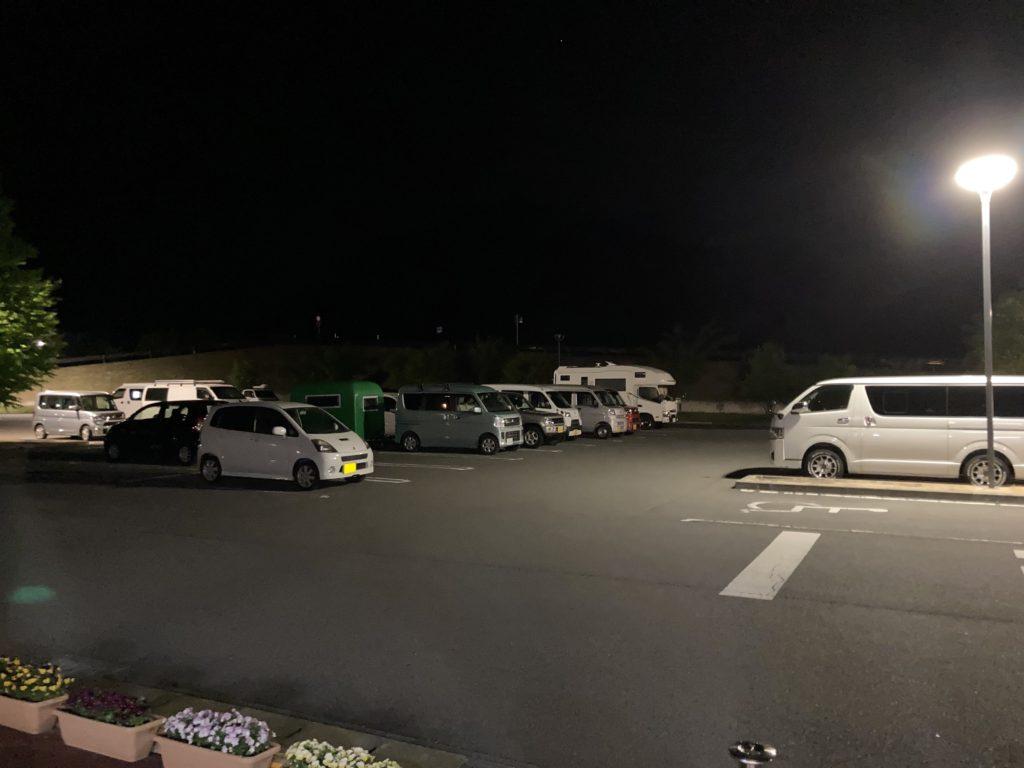 道の駅「あがつま峡」幌馬車くんの軽キャンピングトレーラー車中泊の夜の様子