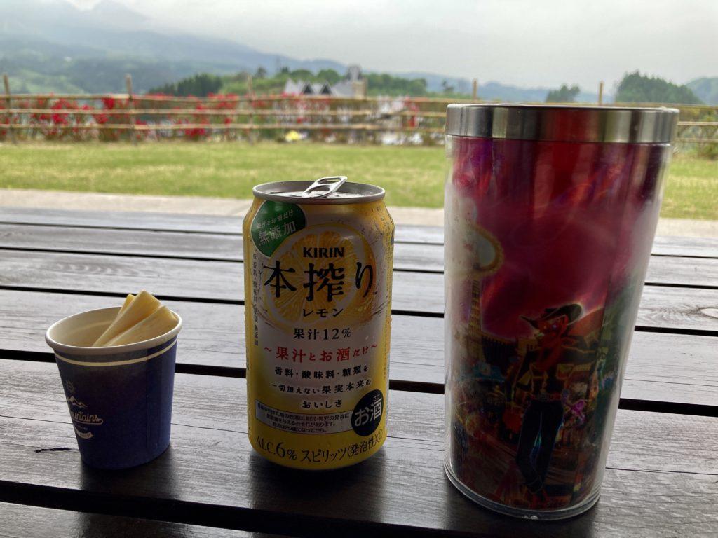 道の駅「中山盆地」高山ふれあいパークの東屋で飲む