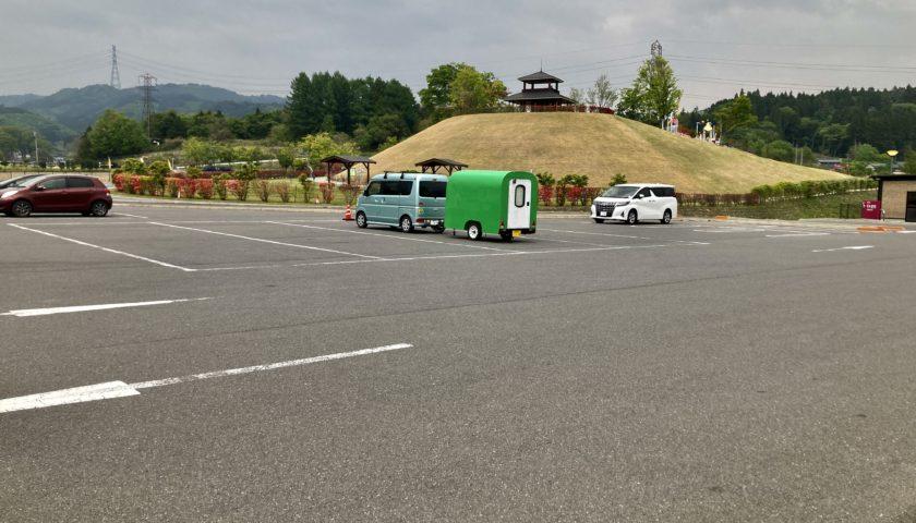 道の駅「中山盆地」幌馬車くんの軽キャンピングトレーラー車中泊