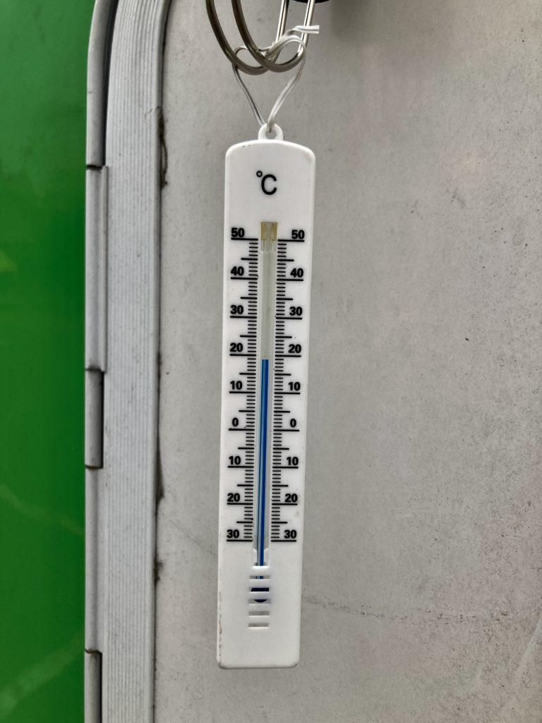 道の駅「中山盆地」幌馬車くんの軽キャンピングトレーラー車中泊の5月の気温