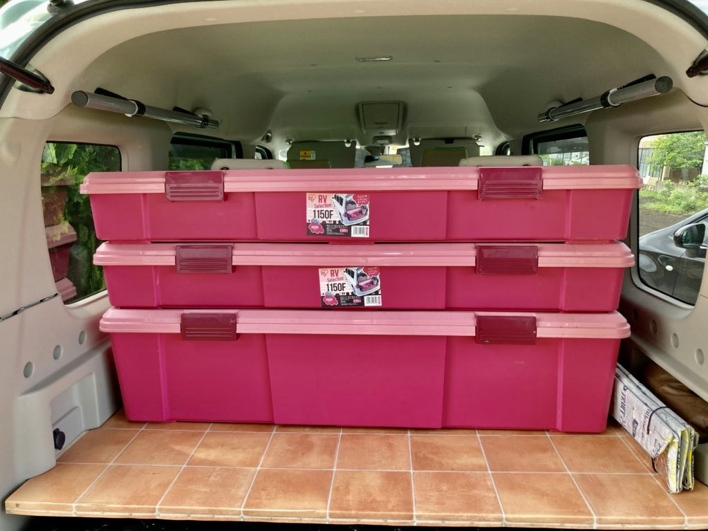 エブリィワゴンの荷室にアイリスオーヤマのRVBOXの115Dと1150Fを積んでみた