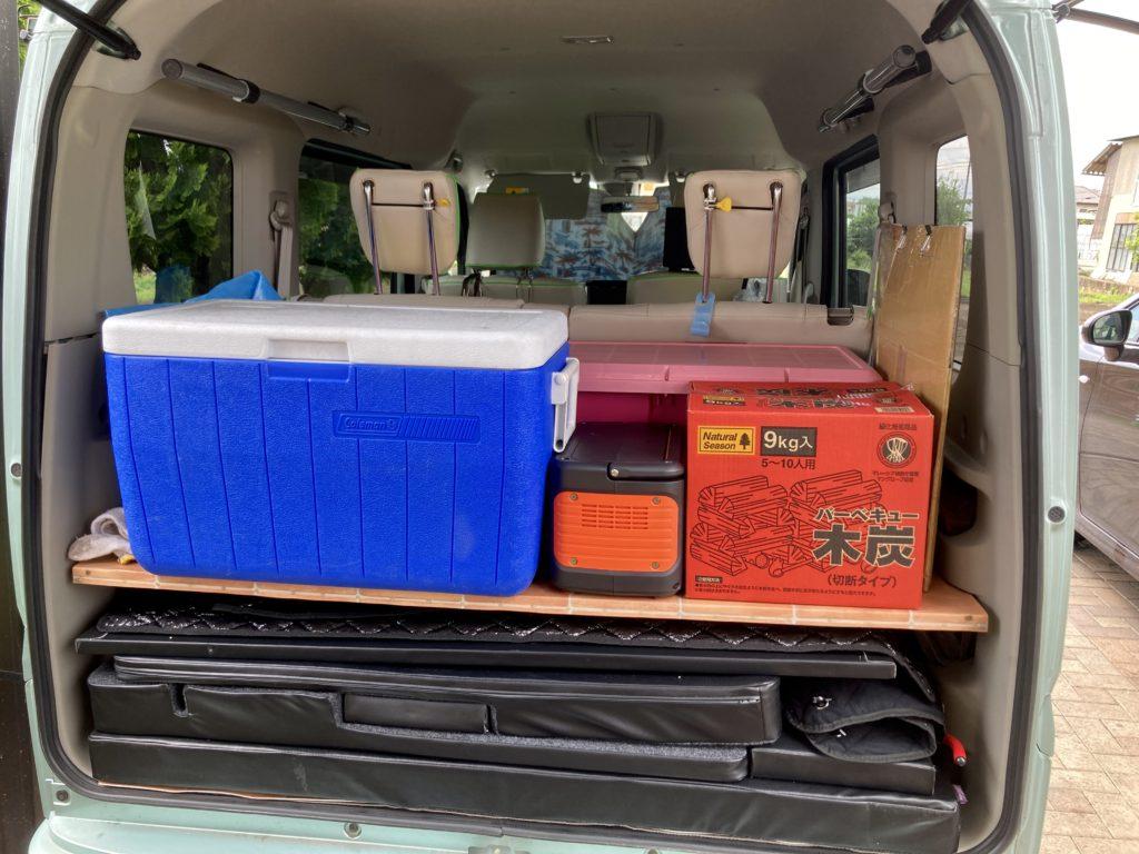エブリィワゴンと行く北軽井沢スウィートグラスの軽キャンピングトレーラのキャンプの荷物