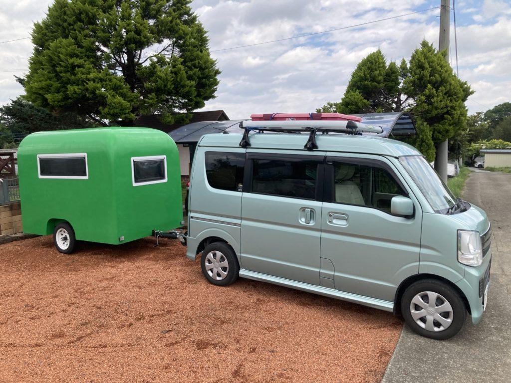 幌馬車くんと行く北軽井沢スウィートグラスの軽キャンピングトレーラのキャンプの出発