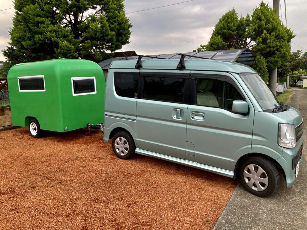 幌馬車くんと行く道の駅「よしおか温泉」の軽キャンピングトレーラ車中泊の出発