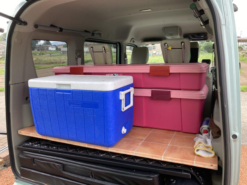 幌馬車くんと行く北軽井沢オートキャンプ場「きたかる」の軽キャンピングトレーラ車中泊の荷物
