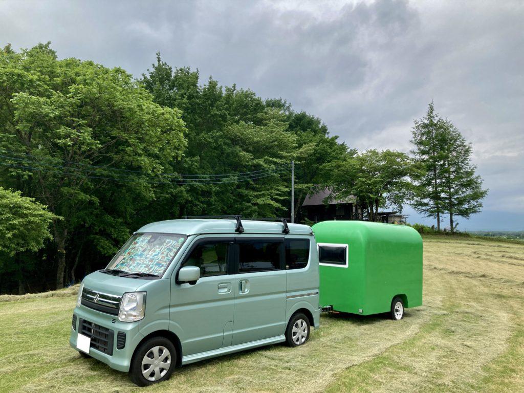 幌馬車くんと行く北軽井沢オートキャンプ場「きたかる」の軽キャンピングトレーラ車中泊のそよ風サイト