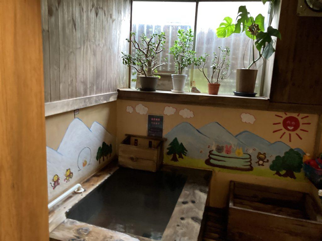 草津温泉「湯畑観光駐車場」近くの温泉宿「ゆたか」で日帰り入浴 貸し切り風呂の浴槽