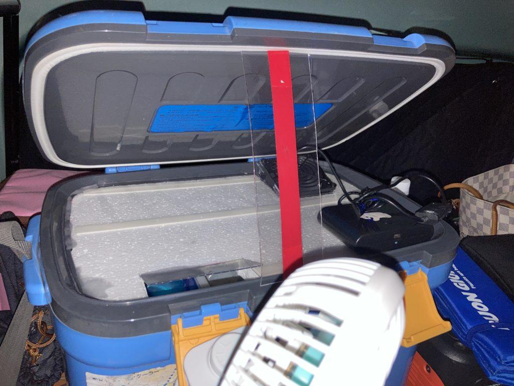 草津温泉「湯畑観光駐車場」エブリィワゴンの6月の車中泊にて簡易クーラーを使用する