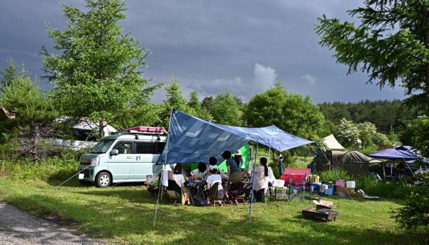 軽キャンピングトレーラーの幌馬車くんで行く無印良品カンパーニャ嬬恋キャンプ