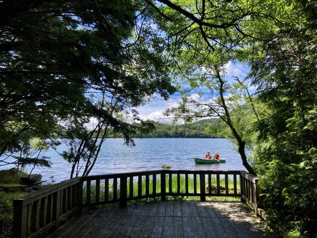 湯の湖と湯滝のハイキングコースのウッドデッキ