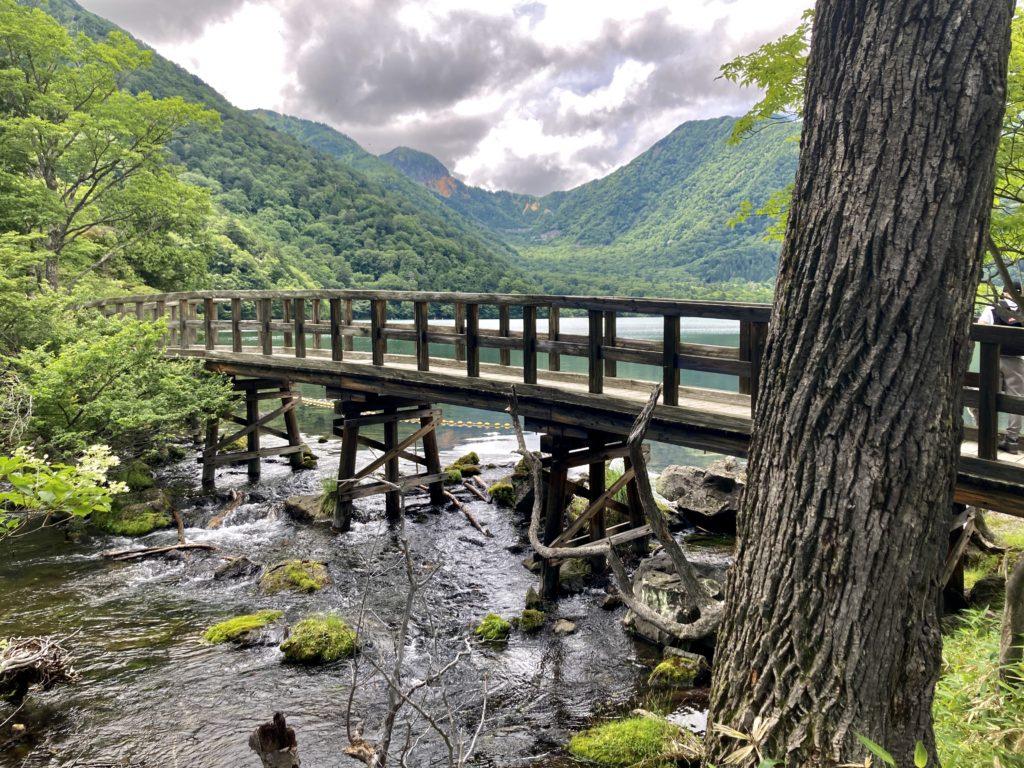 湯の湖の周遊ハイキングコースの橋