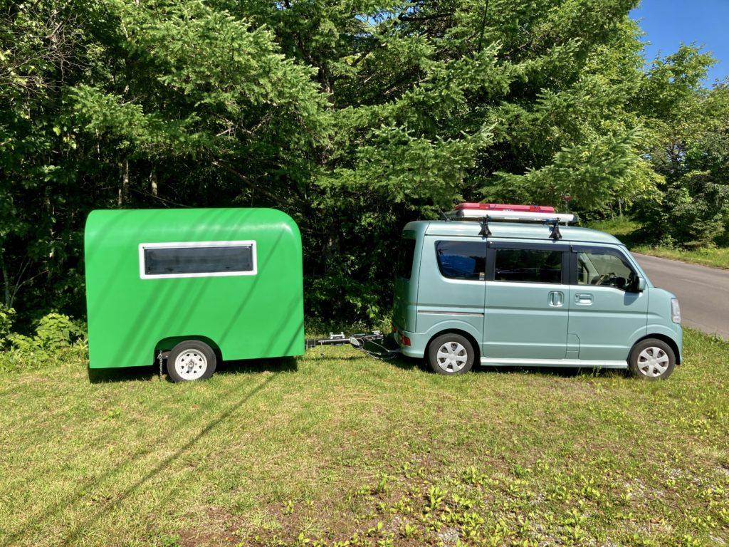 軽キャンピングトレーラーの幌馬車くんで行く嬬恋のバラキ高原キャンプ場の第二駐車場