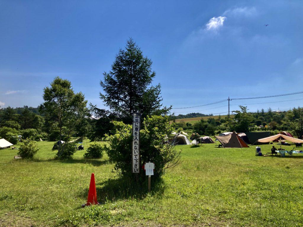 嬬恋のバラキ高原キャンプ場の芝生に車を入れないでください
